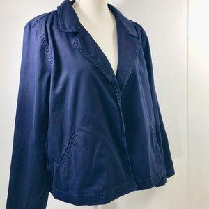 Eileen Fisher Navy Blue Cotton Jacket. L
